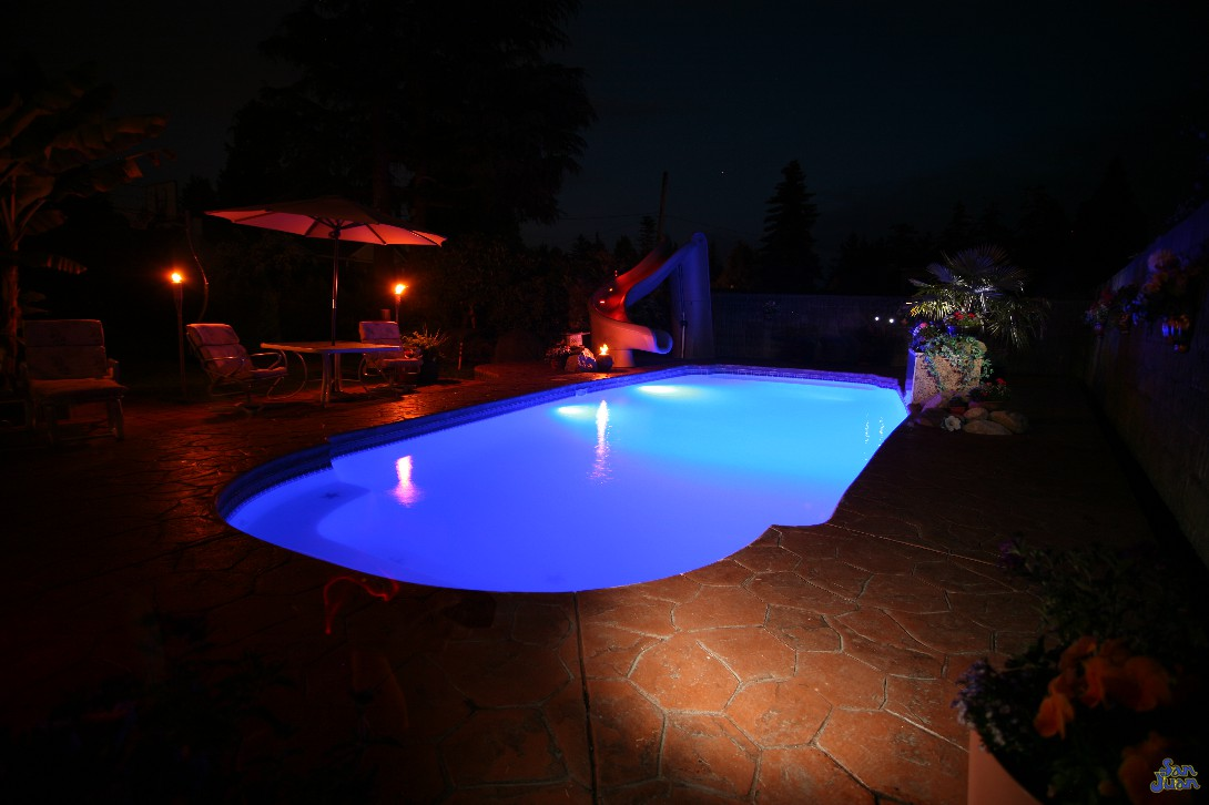 savannah deep pool shape at night with led lighting