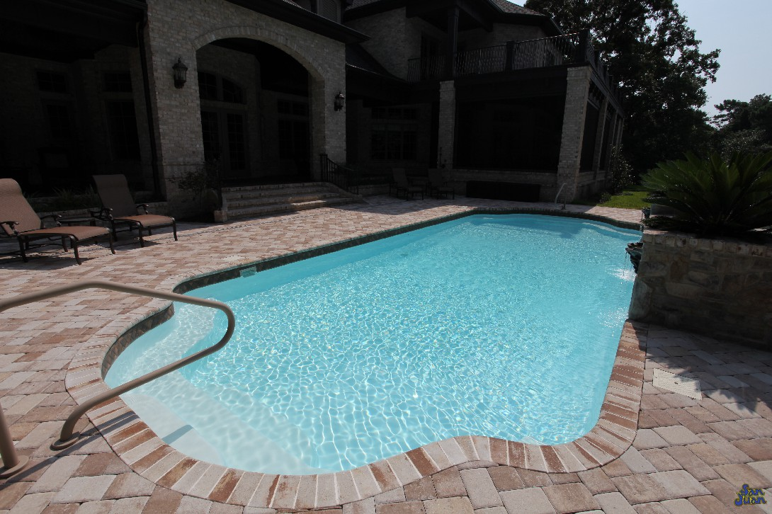 The Phoenix Swimming Pool sports a dual set of entry steps. As mentioned above, we have access to various artistic handrails. These boost the safety and design of your pool design. We offer both standard Stainless Steel options as well as Salt Friendly!