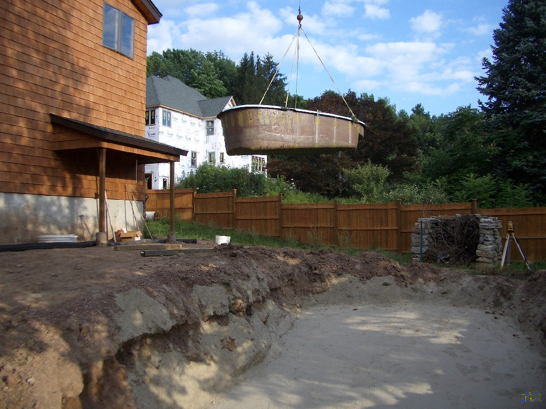 Using a crane, we are able to drop a fiberglass shell into almost any backyard of any shape or size. Our crews prep, excavate, set and install and fiberglass shell in several days. In the end, you're left with a gorgeous San Juan fiberglass pool shell that is installed in record time!
