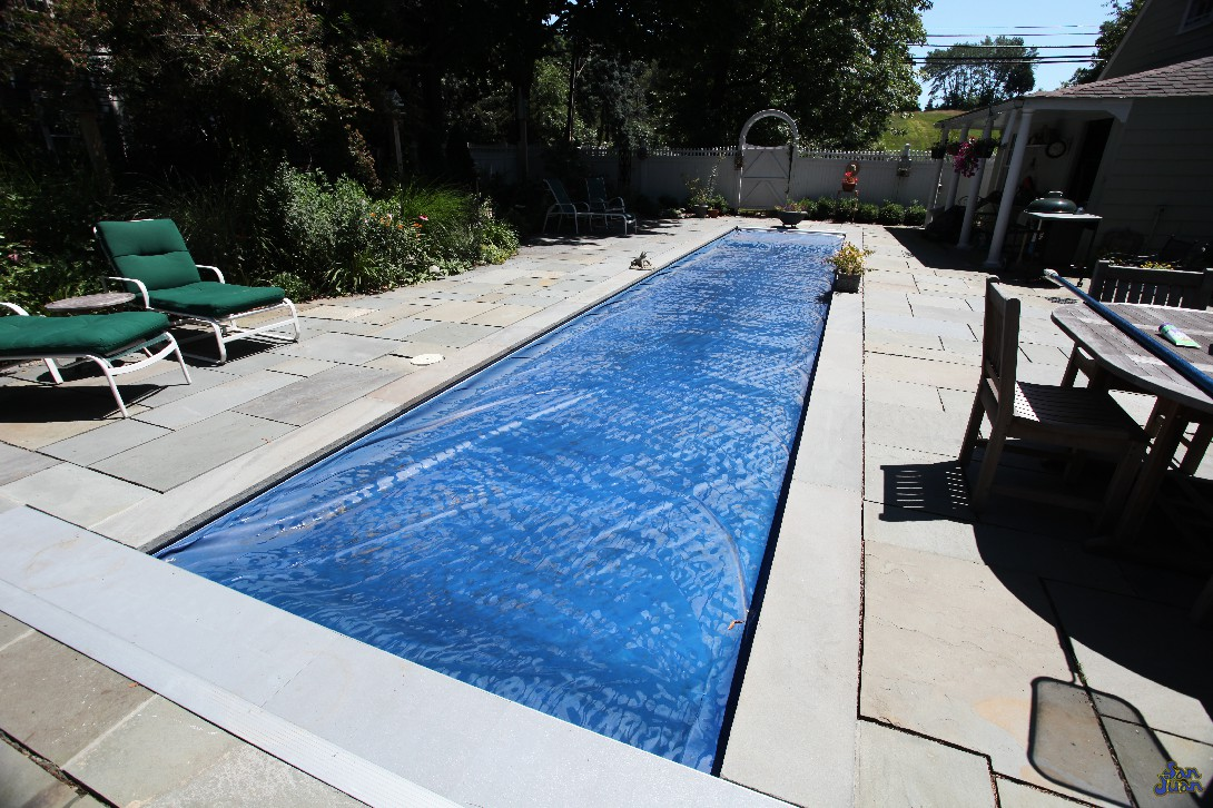 With a pool of this size, leaves can certainly be an issues. In order to keep the pesky things out, we highly recommend pairing your Marathon fiberglass pool with a Automated Pool Cover. This can be activated when you decide you're done swimming for the day. It can also be a peace of mind knowing you won't return back to a pool full of leaves the next afternoon. Definitely a great design choice!
