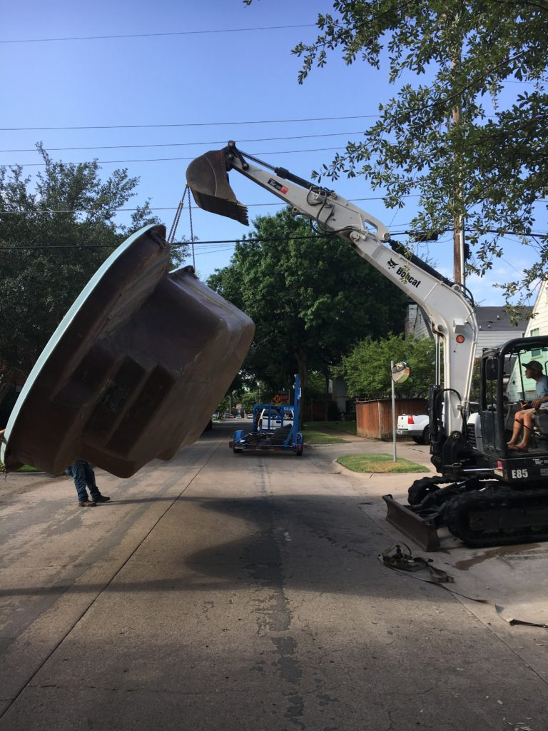 We are hard at work at another fiberglass pool installation in Dallas, TX. This job is located in University Park Dallas. Our fiberglass shells are perfect fits for small to medium sized urban backyards with minimal space for bulky construction equipment. Welcome to fiberglass territory!