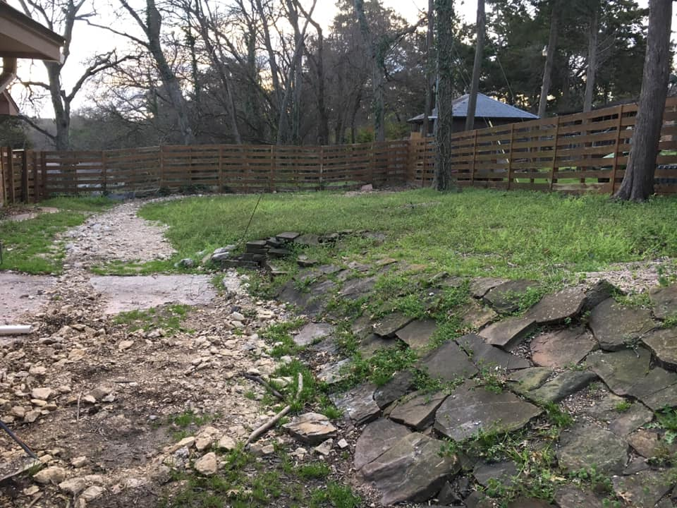 This backyard was riveted with uneven surfaces and bedrock. This presented a lot of challenges but also a great opportunity to show the skills of our installation crews!